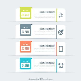 Pack of four flat infographic banners
