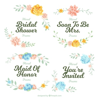 Pack of four floral frames for bridal shower