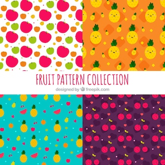 Pack of four fruit patterns in flat design
