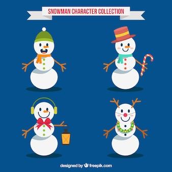 Pack of four geometric snowmen