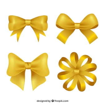 Pack of four golden bows in realistic style