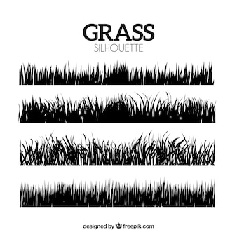 Pack of four grass silhouettes