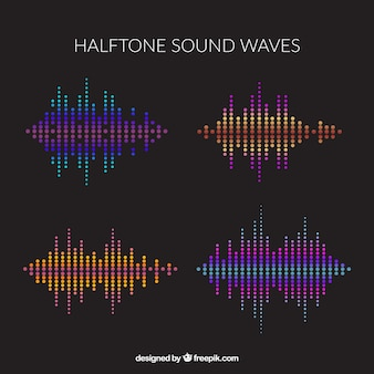 Pack of four halftone sound waves