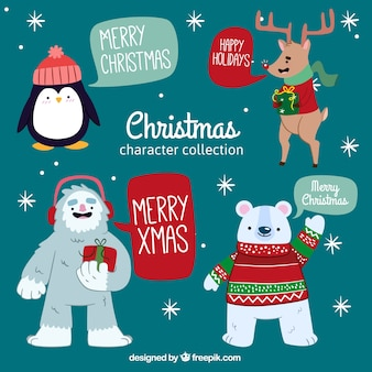Pack of four hand-drawn christmas characters