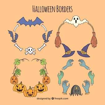 Pack of four hand drawn halloween ornaments