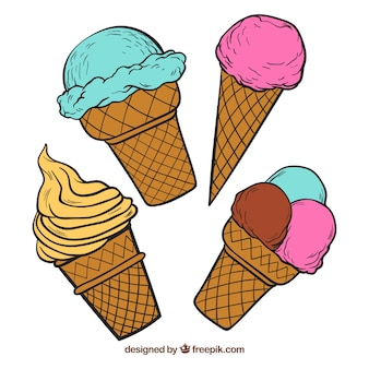 Pack of four ice cream cones