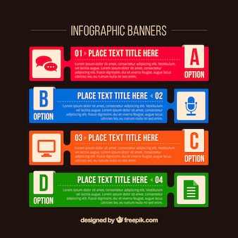 Pack of four infographic banners with different colors