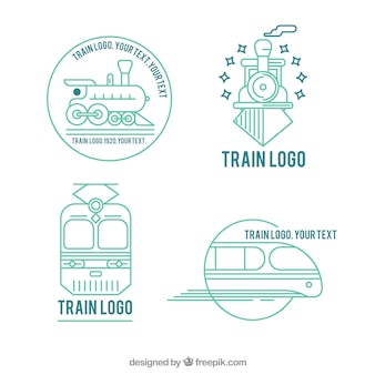 Pack of four linear train logos