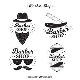 Pack of four logos for barber shop