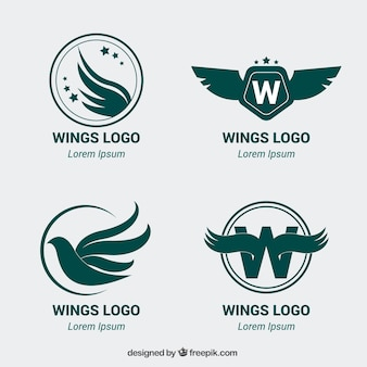 Pack of four logos with wings