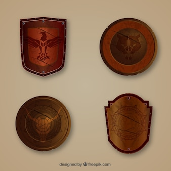 Pack of four medieval shields