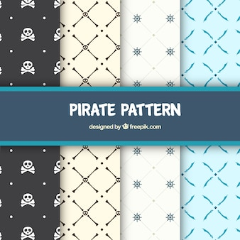Pack of four minimalist pirate patterns
