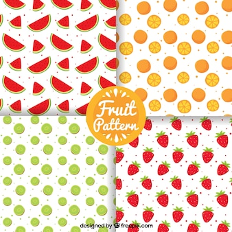 Pack of four patterns with hand-drawn fruits