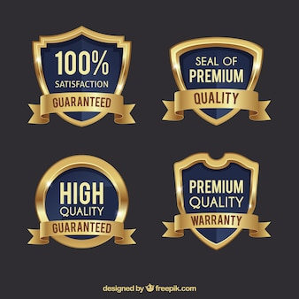 Pack of four premium golden shields