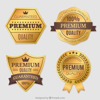 Pack of four premium vintage golden stickers