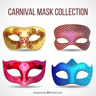 Pack of four realistic carnival masks