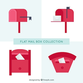Pack of four red mailboxes in flat design