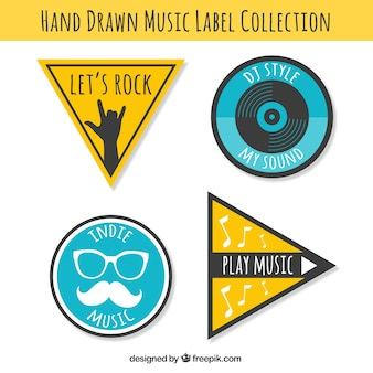 Pack of four retro music festival stickers