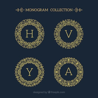 Pack of four round gold monograms