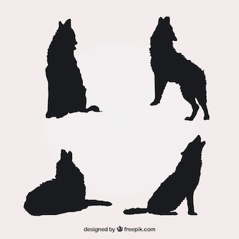 Pack of four silhouettes of wolves