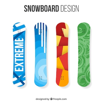 Pack of four snowboards with modern designs
