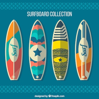 Pack of four surfboards in flat design