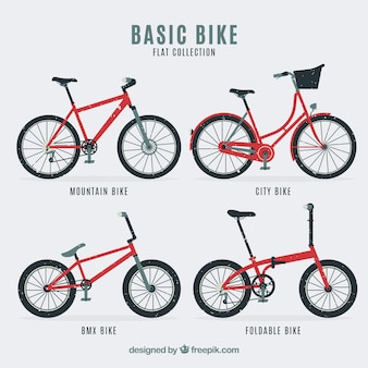 Pack of four types of retro bicycles