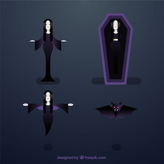 Pack of four vampire characters in flat design