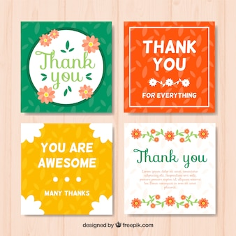 Pack of four vintage thank you cards
