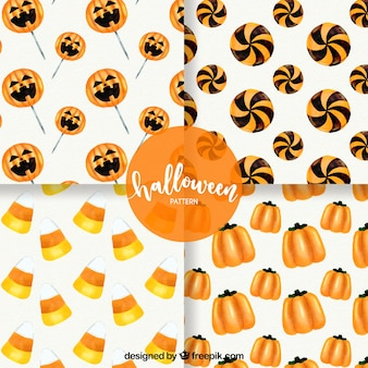 Pack of four watercolor halloween patterns
