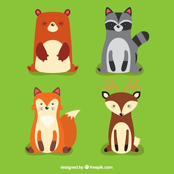 Pack of friendly forest animals