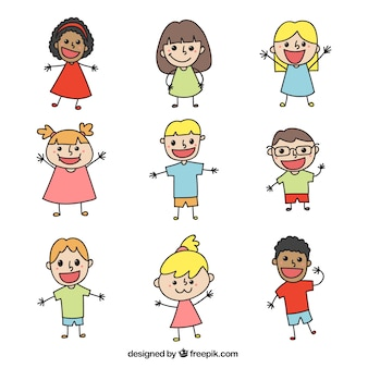 Pack of funny doodles for children's day