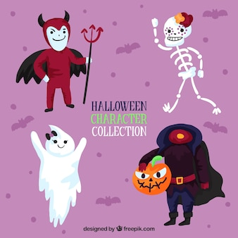 Pack of funny halloween characters