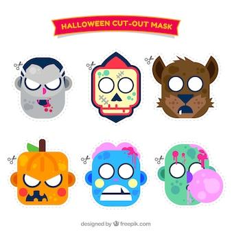 Pack of funny halloween masks in flat design