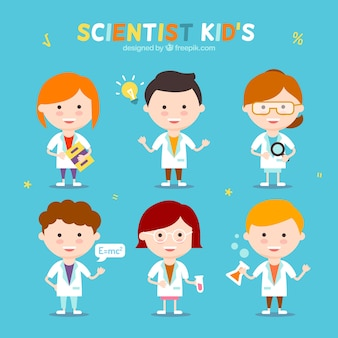 Pack of funny scientist children