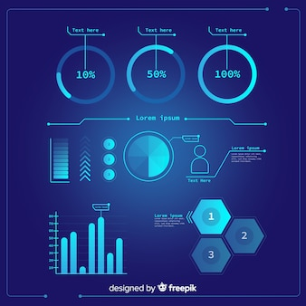 Pack of futuristic infographic element