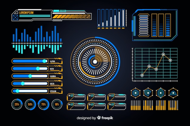 Pack of futuristic infographic elements