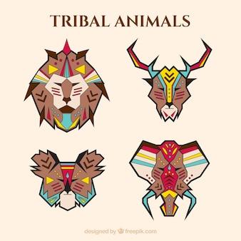 Confezione di animali geometriche in stile etnico