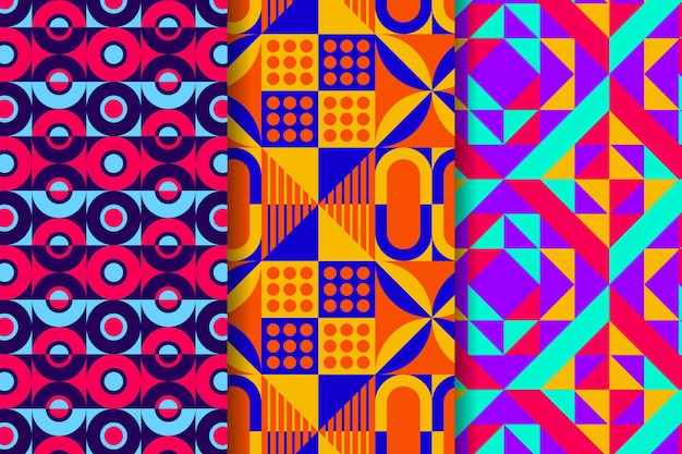 Pack of geometric drawn patterns