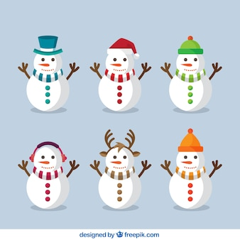 Pack of geometric snowmen with scarves in different colors