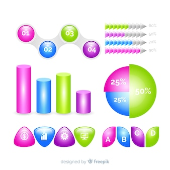 Pack of glossy infographic elements