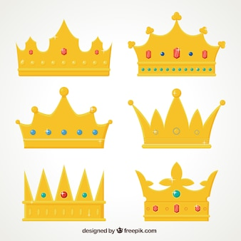 Pack of gold crowns with precious stones