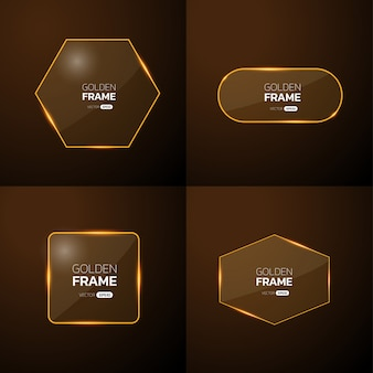 Pack of gold frame with light effect.