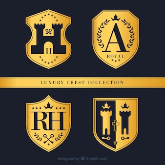 Pack of golden badges with crests
