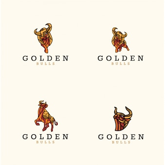 Pack of golden bulls logo
