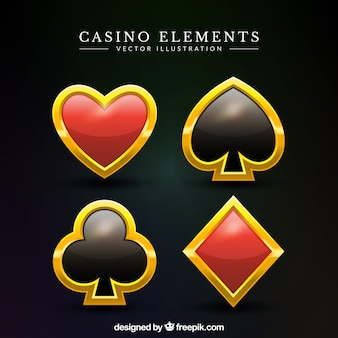 Pack of golden casino symbols