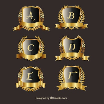 Pack of golden crests with laurel wreath