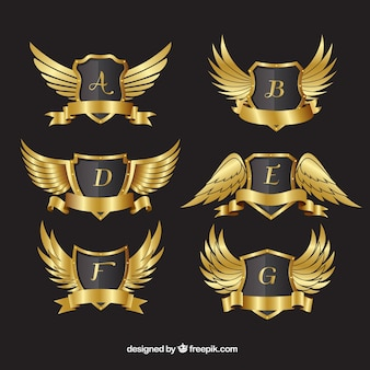 Pack of golden crests with wings