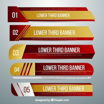 Pack of golden and red lower thirds