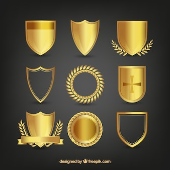 Pack of golden shields with ornaments